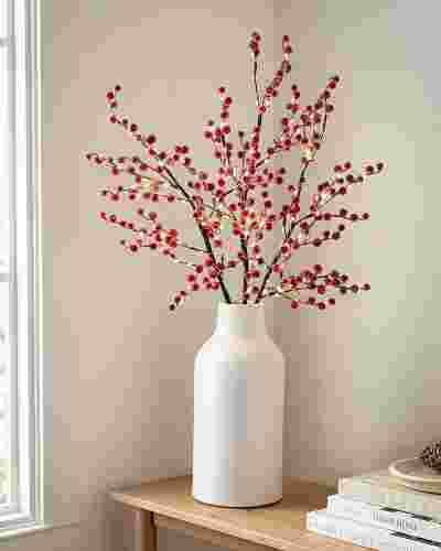 Lit Sugared Red Berry Branches by Balsam Hill SSC