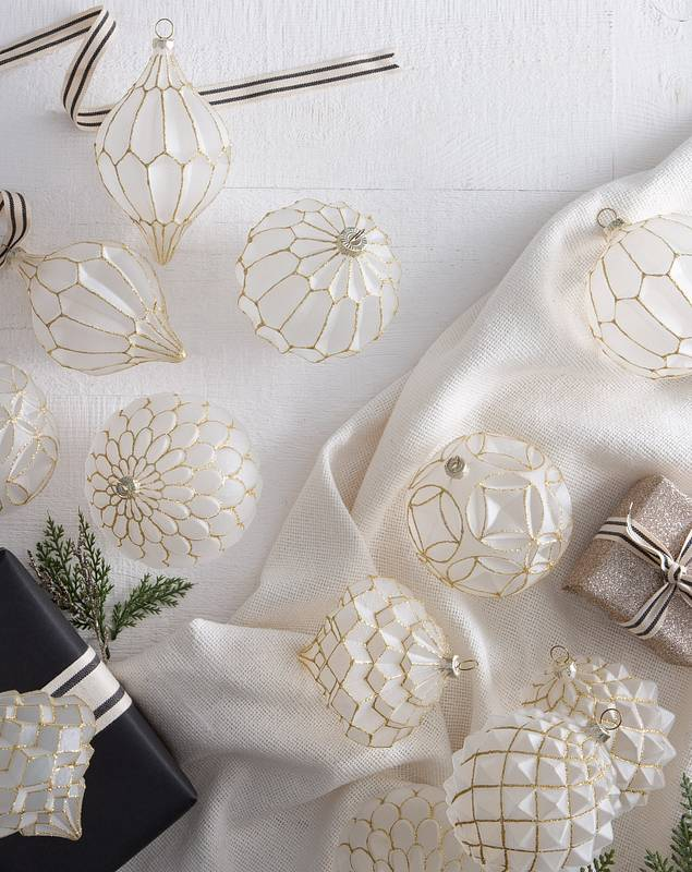 Winter Wishes Frosted Ornament Set 12 Pieces by Balsam Hill SSCR 20