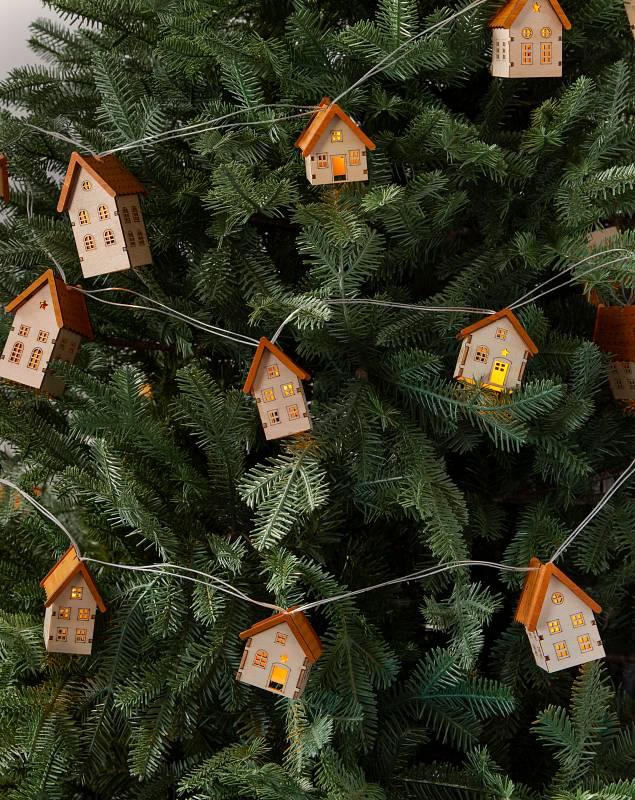 Wooden Alpine House Garlands Set of 2 by Balsam Hill