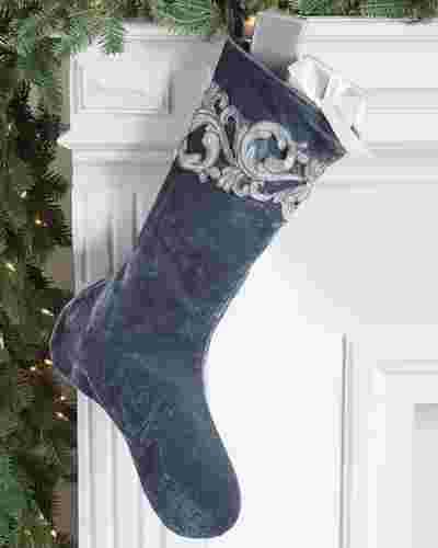 French Blue Velvet Christmas Stocking by Balsam Hill SSC 10
