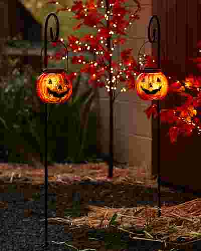 Solar Powered Jack Oft Lantern Pathway Lights Set of 2 by Balsam Hill SSC 10