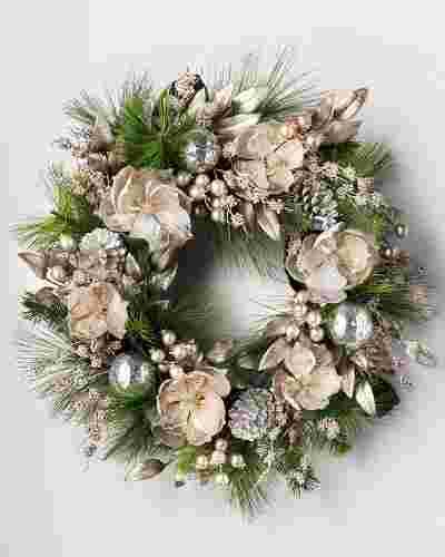 Metallic Magnolia Wreath by Balsam Hill