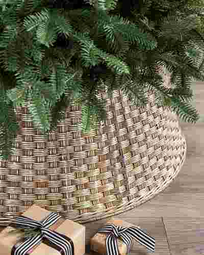 Metallic Basketweave Tree Collar by Balsam Hill