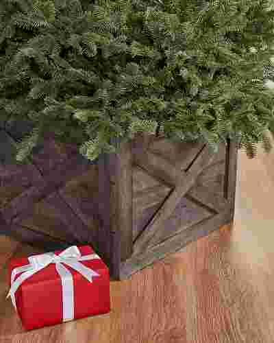 Gray Wooden Crate Tree Collar by Balsam Hill SSC