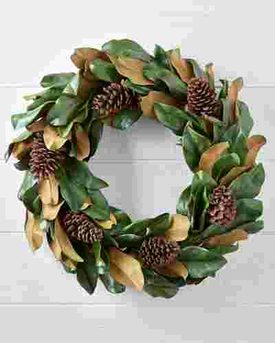 30in Magnolia Leaf Artificial Christmas Wreath by Balsam Hill SSC 10