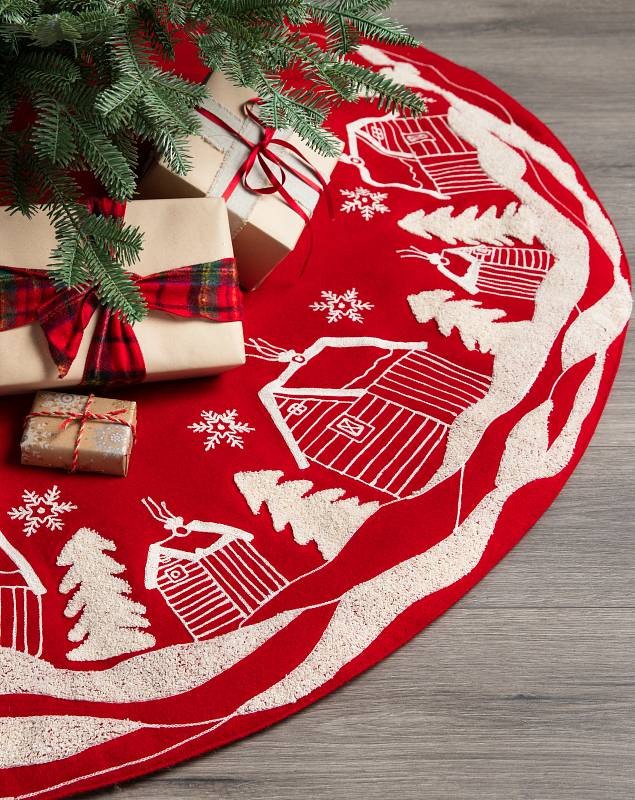 Christmas Village Embroidered Tree Skirt by Balsam Hill