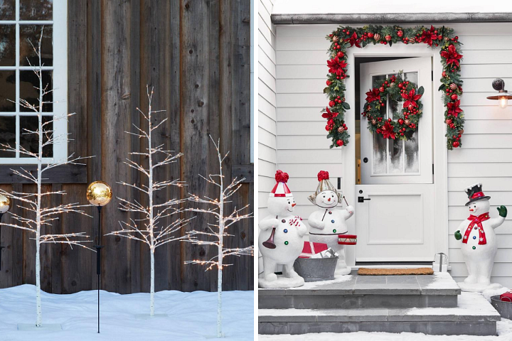 Front porches decorated with Balsam Hill's Winter Birch Twig Tree and Outdoor Festive Poinsettia Foliage