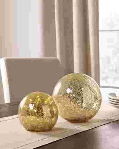Gold Glowing Mercury Glass Orbs by Balsam Hill SSC