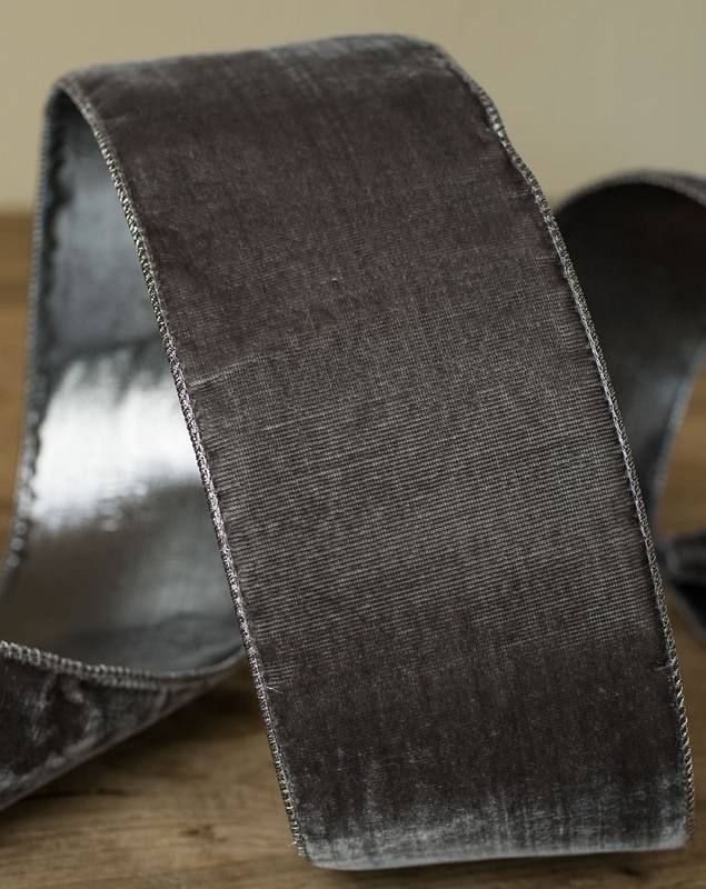 "4""x10 Yard Platinum Pleated Lamé Ribbon by Balsam Hill SSC 50"