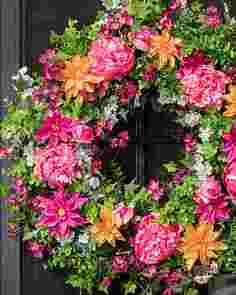Outdoor Radiant Peony Wreath by Balsam Hill SSCR 10