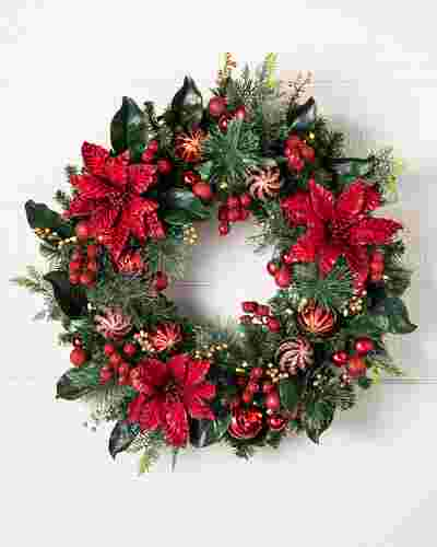 Outdoor Festive Poinsettia Wreath by Balsam Hill SSC 10