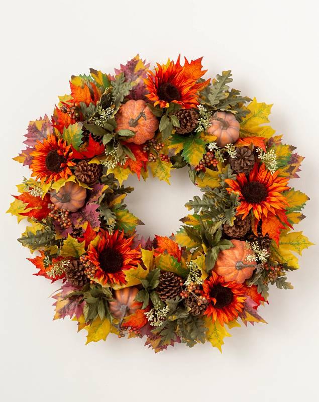 Sunflower and Pumpkin Wreath by Balsam Hill