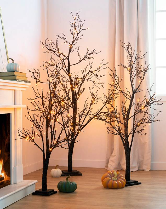 Halloween Glitter LED Twig Tree Lifestyle 10 by Balsam Hill
