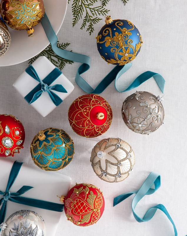 Decorated Glass Ball Ornament Set 4 Pieces by Balsam Hill Lifestyle 10