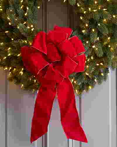 Red Pre-Made Wired Ribbon Bows by Balsam Hill Lifestyle 10