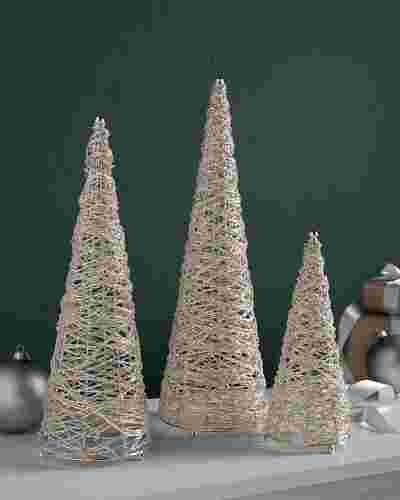 Beaded Tabletop Cone Trees Set of 3 by Balsam Hill